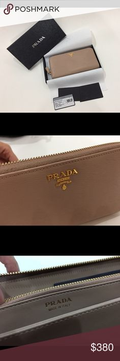 """Prada wallet - Prada saffiano leather organizer wallet. - Zip-around closure with tonal saffiano pull. - Silk moire lining. - Made in Italy. - pictures took from the actual product and used once.  Type: Wallets Color: Cammeo Brand: Prada Measurements: 8"""" x 4.4"""" x 1"""" Style Tags: Prada Wallets Prada Bags Wallets"""