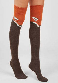 Fur the Win Thigh Highs in Brown Fox - Every outfit becomes a stylish victory when sporting these critter printed socks! Sleepy, pumpkin-orange foxes festoon this over-the-knee pair, boasting an undeniably adorable appeal. Fox Socks, Cute Socks, Orange Socks, Knee High Socks, Thigh High Socks Outfit, High Boots, Knee Socks Outfits, Long Socks Outfit, Sport Socks