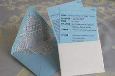 Great idea for making library card invitations by Allison Cosmos from Martha Stewart's blog
