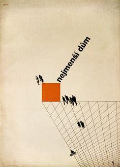 Ladislav Sutnar: Proof of book cover for 'Nejmenši dum' (The Minimal House),
