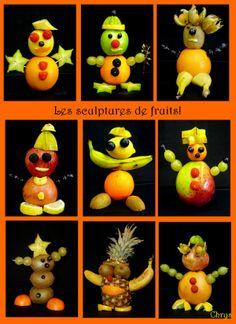 Le Journal de Chrys: Sculptures de fruits pour la semaine du goût L'art Du Fruit, Deco Fruit, Fruit Art, Fruit Cakes, Fruits And Vegetables List, Fruit Sculptures, Fruit Animals, Amazing Food Art, Funny Fruit