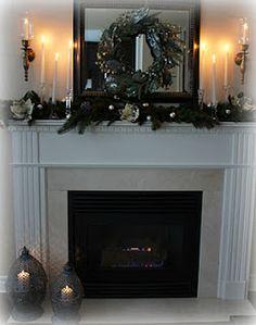 fireplace mantel - wreath on mirror