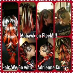 Mohawk on Fleek Red/white mohawk with ponytails linked.  Hair We Go with.... Adrienne Curry