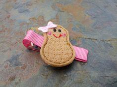 Felties - Little Peanut - Peanut Feltie Hair Clip - Stitchie Hairclip - Clippie - Barrette - Tan and Pink (Set of 1)