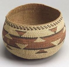 Northern California Polychrome Twined Basketry Bowl   ca. 1900
