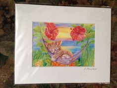 Sleeping Kitten with Hibiscus - Elena Proper
