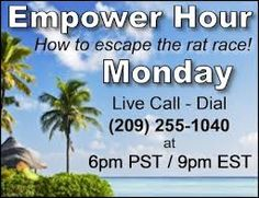 Hey Peeps.. for all of you wanting to know what we do within Empower Network, here's your chance to find out. Join us on tonights Empower Hour Call @ 9pm EST, 8pm CST, 6pm PST