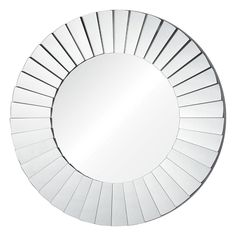 Sunburst-shaped panels of glass form the frame for the vintage glamour of the Plaza mirror, creating a stunning display that adds instant grace to any home decor setting. Round Wall Mirror, Round Mirrors, Entry Mirror, Mirror Hanging, Mirror Panels, Renoir, Simple House, Home Decor Outlet, Decoration