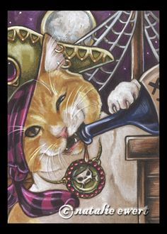 Chompy idea - I like the exposed ear, the striped bandana and the silly face.  Pirate Cat 4 Signed Art Print by natamon on Etsy