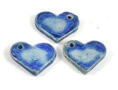 Handmade Ceramic Heart Focal Bead  Fused Glass by DeeDeeSupplies