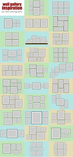 Different ways to organize photo frames for a wall
