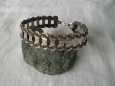 Bicycle Jewelry Bicycle Chain Link & Leather Bracelet