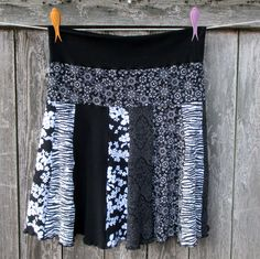 Upcycled Cotton Skirt T Shirt Skirt Recycled Cotton Tshirts Large XL Black Knit Skirt by ThankfulRose on Etsy