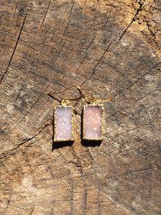 24K gold electroplated druzy drop earrings by TaurusHeart on Etsy