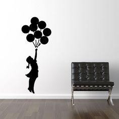 Banksy girl flying ballons wallsticker