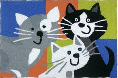 Winston Porter This durable Beatley Kitty Klatch Hand-Tufted Black/Gray/Blue Indoor/Outdoor Area Rug will provide style to any patio or entrance way. The whimsical design is sure to put a smile on your face and is practical as well. Yellow Area Rugs, Navy Blue Area Rug, Beige Area Rugs, Jellybean Rugs, Trellis Rug, Aztec Rug, Indoor Outdoor Area Rugs, Grey Rugs, Black And Grey
