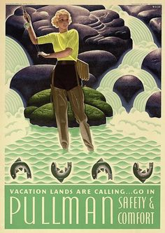 Poster by William P Welsh (1889), 1936, Vacation lands are calling….Pullman, USA.