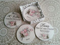 Old CD Coasters. CDs or DVDs Decorative fabric or paper Sand paper White spray primer Felt Mod Podge Hard Surface Cd Crafts, Crafts To Sell, Paper Crafts, Recycled Cds, Mirrored Picture Frames, Laser Cutter Projects, Green Craft, Decoupage Box, Tea Box