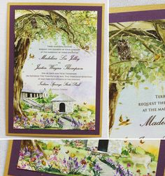 Indian Springs State Park watercolor invite illustration...  #watercolortreeinvites #watercolorwedding #watercolortreeweddinginvites #momentaldesigns #kristyrice