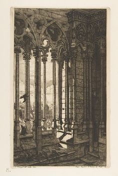 Charles Meryon, (French, 1821–1868).The Gallery, Nôtre-Dame Cathedral, Paris. The Metropolitan Museum of Art, New York. Harris Brisbane Dick Fund, 1917 (17.3.417) #paris