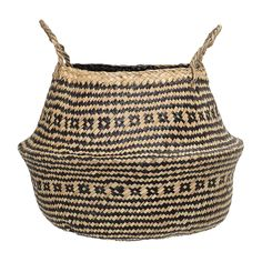 Crafted from seagrass this striking belly basket features a woven design in natural and black tones. Finished with carry handles, this basket is Seagrass Storage Baskets, Wicker Baskets, Vintage Wooden Crates, Contemporary Planters, Belly Basket, Bohemian Furniture, Plant Basket, Aztec Designs, Retro Home