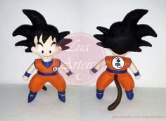 Boneco Goku Anime Dragon Ball de feltro 30cm. Tags: Anime, feltro, felt, dragon ball, goku, son, DIY, handmade, artesanato.