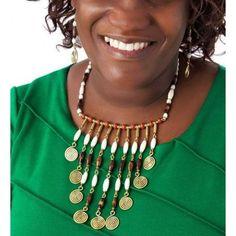 African Print Necklace - Ankara Jewellery - African Ethnic Ear ring - African Bone Ear ring Jewellery - Tribal Jewellery Set  -e-500x500.jpg