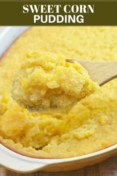 Sweet Corn Pudding - Onion Rings & Things Sweet Corn Spoonbread is perfectly sweet, super moist and loaded with corn flavor. It's easy to make and is sure to be a crowd favorite! Corn Pudding Recipes, Corn Recipes, Mexican Food Recipes, Paula Deen Corn Pudding, Sweet Corn Pudding Recipe Jiffy, Bread Recipes, Creamed Corn Casserole Recipe, Sweet Corn Casserole, Paula Dean Corn Casserole