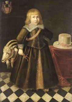 1646 Unknown Dutch artist. Portrait of a Child with a Goat perhaps a toy goat