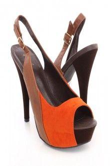 Orange Peep Toe Sling Back Two Tone Platform Heels Velvet