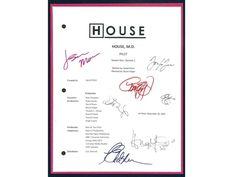 House MD Pilot Episode Television Script Autographed: Hugh Laurie, Lisa Edelstein, Olivia Wilde, Omar Epps, Jennifer Morrison,Jesse Spencer
