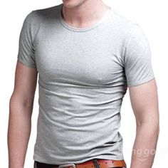 A&S Men's Slim Crew Neck Solid Cotton Short Sleeve Tee T-shirt - US$11.15