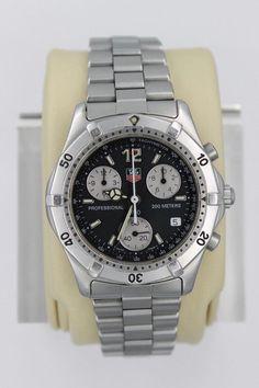 416d9ee6b9c5 Tag Heuer 2000 Classic Professional CK1110 Watch Mens BLACK SILVER  Chronograph  mensluxurywatchestagheuer