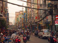 Sunset over Bui Vien St, Ho Chi Minh City - Vietnam.