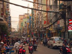 Sunset over Bui Vien St, Ho Chi Minh City - Vietnam.
