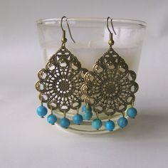 Fancy Dress Filigree & Turquoise Earrings by cloverjewels on Etsy, £6.00