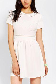Coincidence & Chance Lattice-Collar Crepe Dress