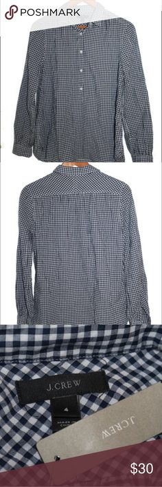 J. Crew Popover Shirt Navy Blue & White Plaid NWT J.Crew classic five button popover. Navy blue and white gingham plaid. 100% cotton. New with tags! J. Crew Tops Button Down Shirts