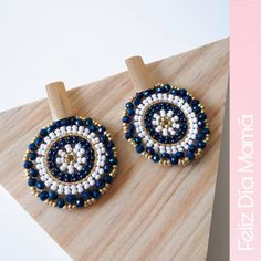 Image may contain: 1 person Bead Embroidery Jewelry, Beaded Embroidery, Beaded Jewelry, Beaded Necklace, Beaded Bracelets, Antique Jewelry, How To Make Earrings, Diy Earrings, Beaded Earrings Patterns