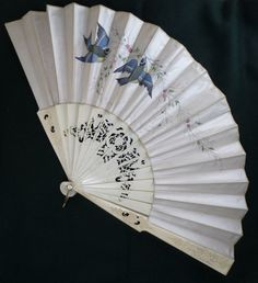 Victorian Carved & Pierced Bone Fan w/ Swallow Design | eBay I love this!