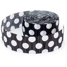 Black Polka Dot Party Streamer  (Each) $2.99