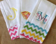 Items similar to Set of 3 Personalized Burp Cloths and Onesie - Diaper Cloths - Baby Boy-Baby Girl - Monogrammed - Gift Set - Chevron- Cute Dragonfly on Etsy