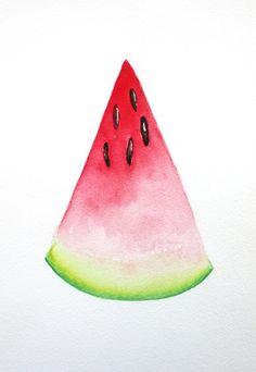 watermelon watercolor 9 x 12