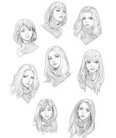 Pin by godstime ojinmah on concept art/character design 2 drawings, hair sk Pencil Art Drawings, Art Drawings Sketches, Pelo Anime, Hair Sketch, Poses References, Drawing Techniques, Drawing Tips, Drawing Hair, Drawing Ideas