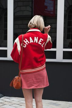 "Street Style From London Fashion Week Fall 2015 - amazing red ""Chanel"" varsity jacket 