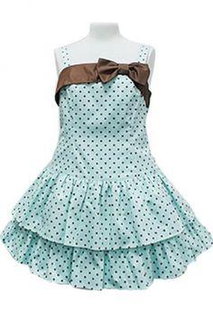 2015 Girl Black Dots Cotton Spaghetti Strap Sweet Lolita Dress With Bow