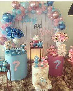 Gender Reveal Party Games, Gender Reveal Themes, Gender Reveal Party Decorations, Gender Party, Baby Shower Gender Reveal, Reveal Parties, Deco Baby Shower, Unisex Baby Shower, Baby Girl Shower Themes