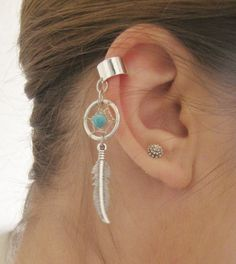 Dream Catcher Ear Cuff- Turquoise Dreamcatcher Earcuff Feather Jewelry No Piercing Non Pierced Earring on Etsy, $16.00