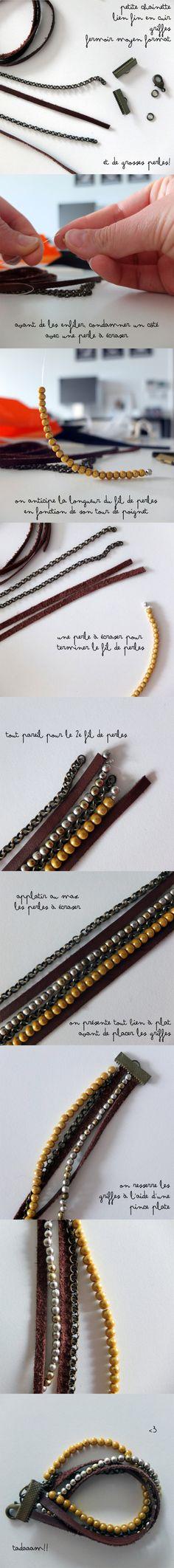 Tuto Bracelet °° Du Cuir et des Perles ! #DIY #bangle #kutchetcouture