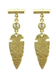 Gold Hammered Dagger Earrings from Helen's Jewels